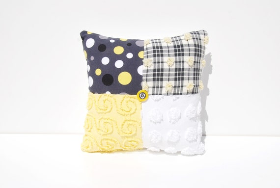 Chenille Charm Pillow - Canary Dot - Black Gray Yellow Michael Miller Vintage Chenille Handmade Charm Pillow