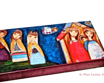 Nativity III with Wise Men -  Giclee print mounted on Wood (3 x 6 inches) Folk Art  by FLOR LARIOS