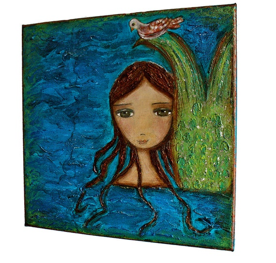 The Mermaid and The Dove - Original Mixed Media Painting on Canvas Folk art by FLOR LARIOS (12 x 12 Inches))