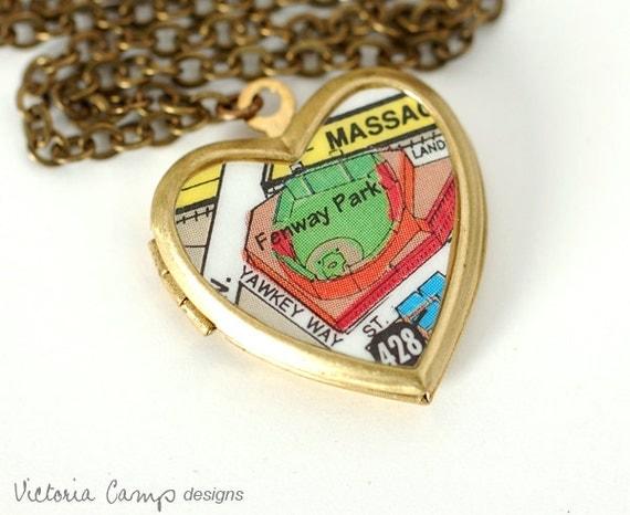 Boston Fenway Park Map Necklace, Vintage Brass Heart Locket, Brass Chain - Ready to Ship