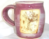 Ceramic Handmade Pottery Wheel thrown Stoneware Tree Mug by Jewel Pottery Cup Each one Unique