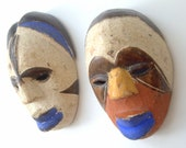 Ancestor Couple, Pair (2) Circa - 1950-1960 Handpainted and Handcarved Miniature African Tribal Masks
