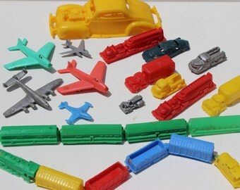 Planes Trains and Automobiles Vintage Plastic Cake Decorations Fire Truck Airplanes Dime Store Toys