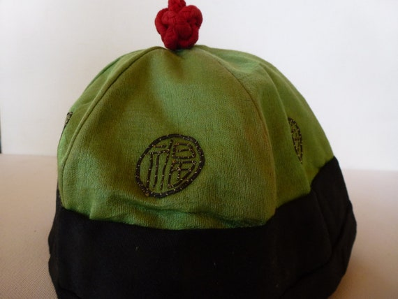 Vintage Chinese Hat Green Black with Red Knot
