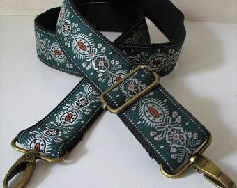Forest Green Purse Strap with Antique Brass Clips, Silver, Black and Orange Accents