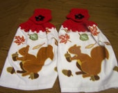 Squirrels -  Crocheted Hanging Kitchen Towels - set of 2 - Very cute and colorful