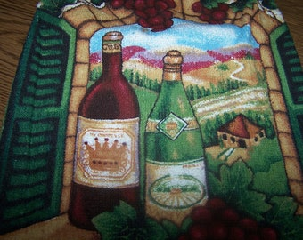 Wine Bottles Crocheted  Hanging Towel with  Colorful Design- Double KNOB Towel