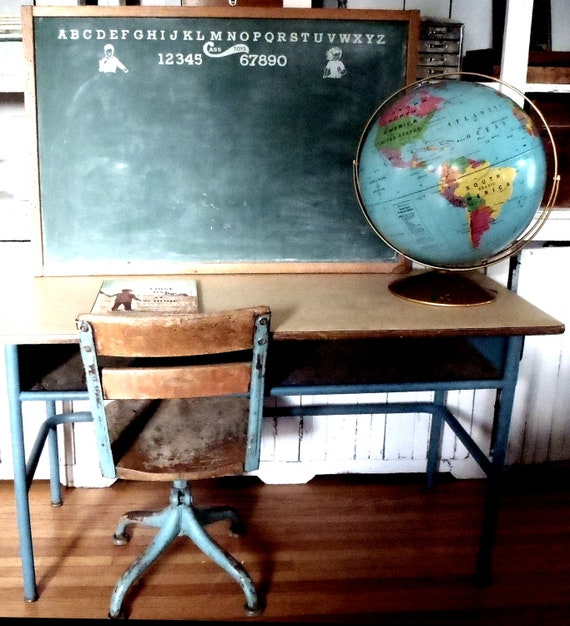 Vintage Industrial Modern Student School Desk Two Seater