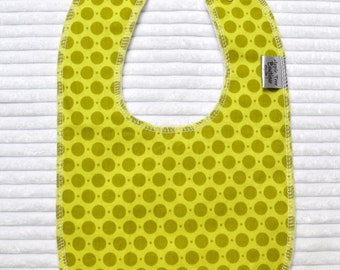 Green Dots Drooler Bib - Adjustable Snap, Wick Proof, Absorbant Organic Cotton