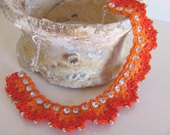 Orange rhinestone silver crochet necklace