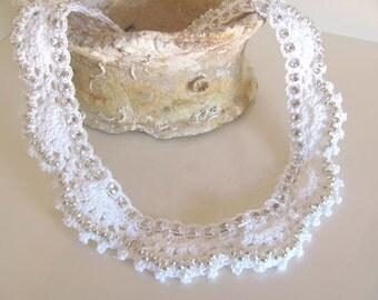 White rhinestone bridal crochet collar necklace.Beads crochet collar statement necklace
