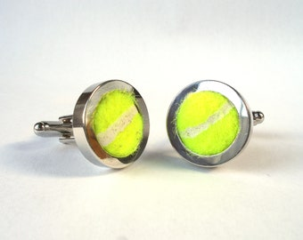 Real Tennis Ball Cufflinks - Handmade from a real Tennis ball