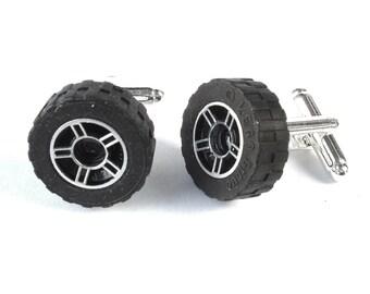 Alloy Wheel Cufflinks, Wedding Cufflinks, Novelty Cufflinks, Silver Plated Cufflinks - Handmade with LEGO(r) brick Wheels