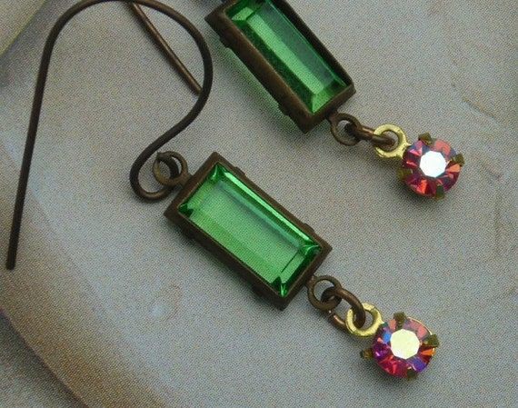 Green Rhinestone Earrings Art Deco Inspired Stained Glass Window Green Pink  Retro  Drops