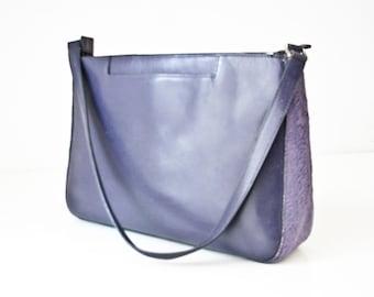 Designer Handbag, Purple Leather and Fur Handbag, Adrienne Vittadini