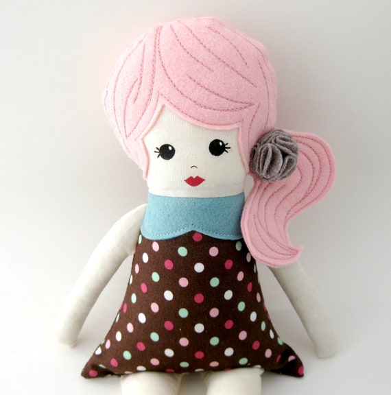 Cloth Rag Doll With Pink Hair And Brown Polka Dot Dress