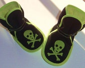 Lime and Black Pirate Boots - slippers, soft soled shoes, booties, Etsy kid's fashion