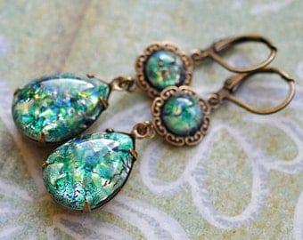 Green Fire glass Opal Earrings - Vintage Glass jewels and brass