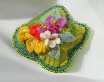 Felt Pin Tropical Bouquet  -  Flower Pin - Brooch   Red-Orange, Ocean Blue, Yellow, White