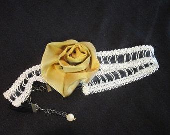 Hand Painted Silk Golden Rose Headband