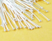 Silver Ball Headpins 50 Ball Pins Shiny Silver Color 1 inch Brass (30mm) 22.5g (1033pin30s1)xz