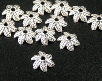 Silver Bead Cap 50 Antique Silver Leaf 6-Petal point 11mm NF (1101cap11s1)