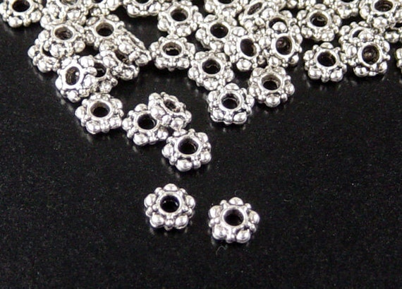 92 Bead Spacers Antique Silver Daisy 5 Point Star 5.8mm (1017spa05s1) ... last remaining packages