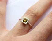 Citrine ring, One Little Stacking ring, Round Stone Shape, Sterling silver Custom Ring , November Birthstone, Yellow stone, Lab created gems