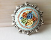 Flower brooch cameo - round pin - silver ornate frame