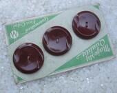 vintage buttons on original card, coat buttons, a burgundy brown color