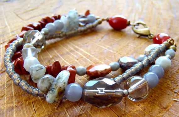 C016 Gray and Crimson Multi-Strand Bracelet