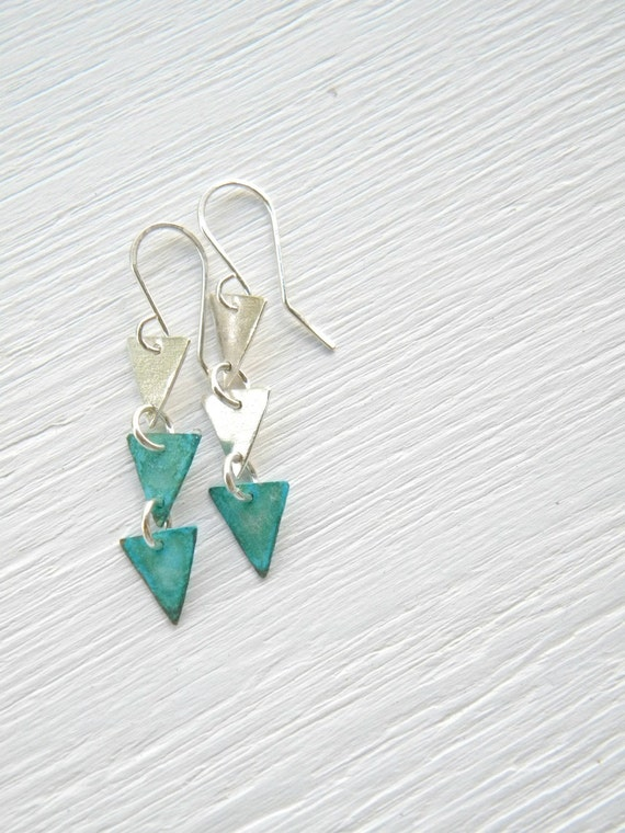 Triple Arrow - Geometric Silver and Verdigris - sterling silver  and copper dangle earrings, triangle, textured, urban, chain, dainty