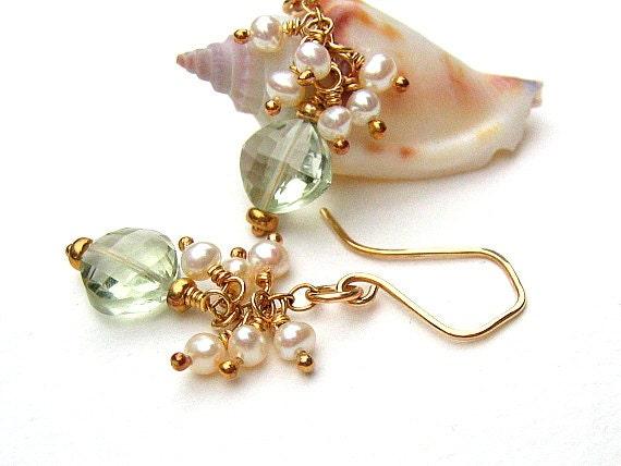 Amethyst Earrings, Green Earrings, Pearl Earrings, Gold Earrings, Cluster Earrings,Freshwater Pearls,February Birthstone - PISTACHIO D'OR