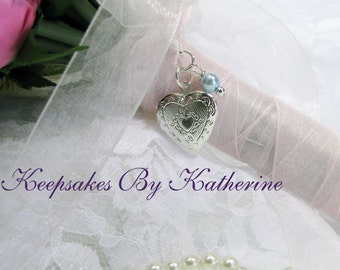 Bridal Bouquet Locket,  Heart Locket, Wedding Keepsakes, Brides Gift, Bouquet Charm, little silver heart bouquet locket