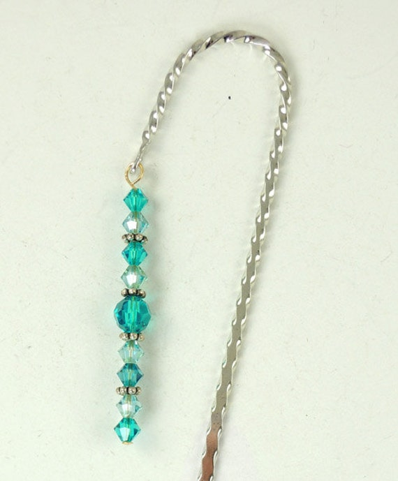 December Bookmark - Blue Zircon, Hook Bookmark, Crystal Bookmark