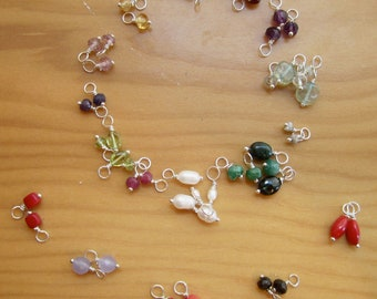 Tiny gemstone pendant or charm on sterling silver or gold vermeil wire to add to itty bitty necklace or tiny gemstone hoop earrings