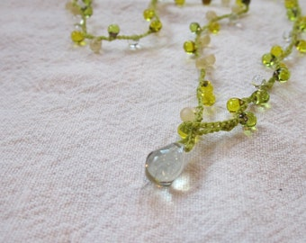 Chardonnay Drop Lariat necklace with prehenite closure, crocheted with green drops and bright green cord