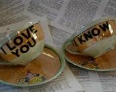 Orange and Green Lustreware I love you I know altered vintage teacup set