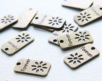 12pcs Antique Brass Tone Base Metal Charms-Forever Tag 23x13mm (8117Y-E-368)