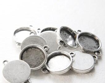 10pcs Oxidized Silver Tone Base Metal Cameo Settings-26x19mm (11386Y-J-76)