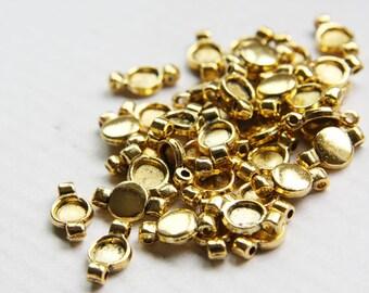 40pcs Oxidized Gold Tone Base Metal Spacers- Two holes 14x8mm (1347X-P-14D)