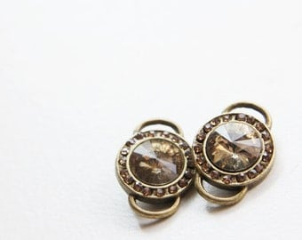 2pcs Antique Brass Tone Base Metal Link with Champagne Rhinestone 22x15mm (13291Y-P-92B)