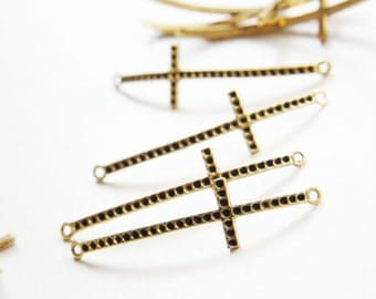 8pcs Oxidized Gold Tone Base Metal Charms-Cross Link with Rhinestone Holes 51x15mm (16282Y-P-88D)