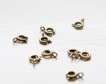 10 Pieces Antique Brass Plated Brass Spring Ring Round Clasp-6mm (338C-I-139)