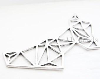 One Piece Oxidized Silver Tone Base Metal Pendant  - Geometry 127x67mm (223C-B-460)