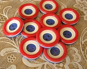 10 Vintage Red White and Blue 7/8 inch 2 Hole Buttons