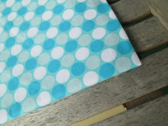"SALE Remnant End of Bolt 34"" Turquoise Dot Cotton Fabric"