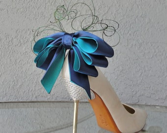 Bridal Party Wedding Navy Blue And Teal Peacock Colors Bow And Feather Shoe Clips Set Of Two