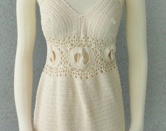 Ivory Natural One Of A Kind Hand Crochet Dress