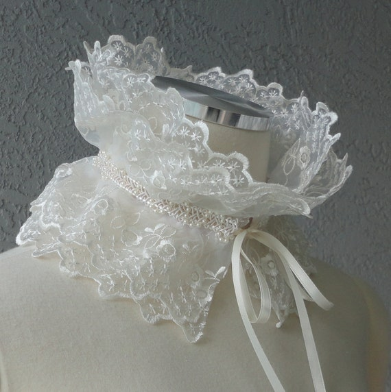Victorian Inspired Ivory Ruffle Collar Necklace Cowl Statement Piece
